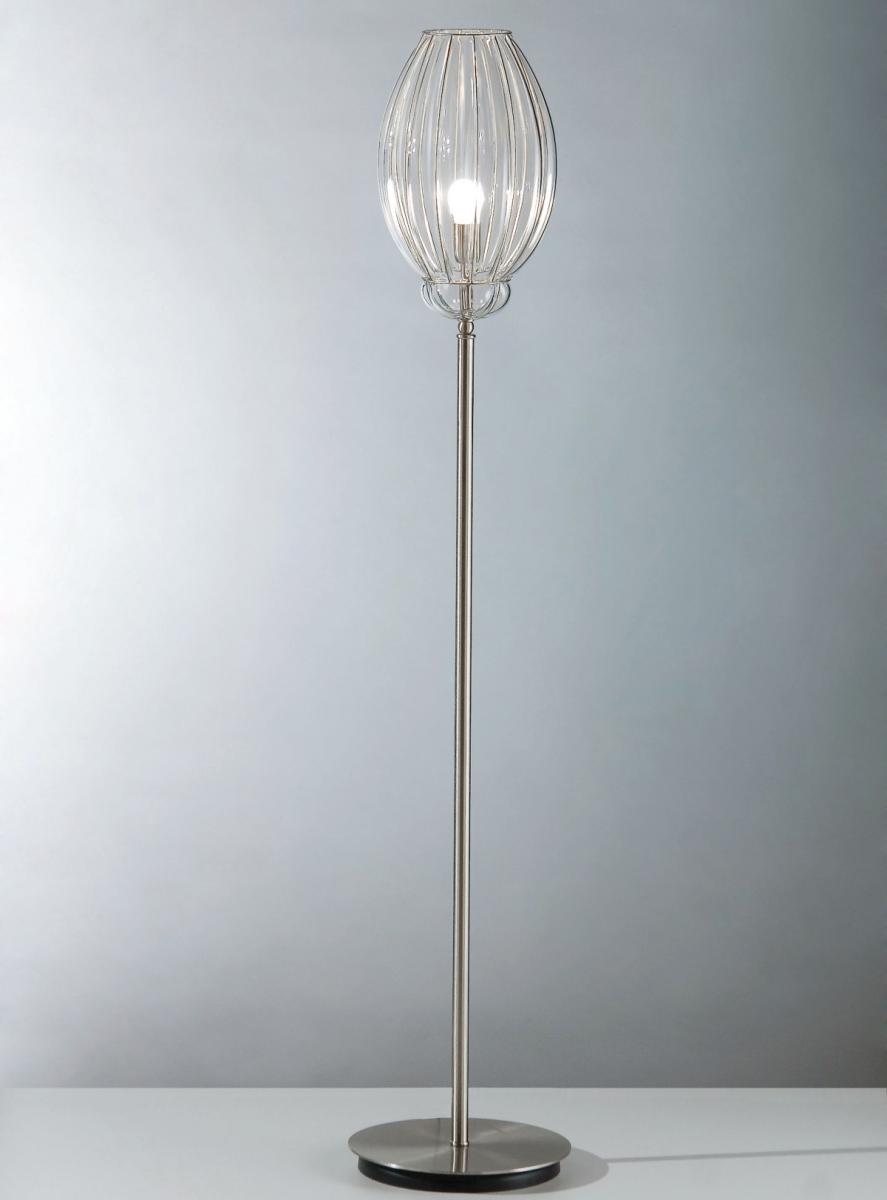 lampadaire moderne en m tal avec un diffuseur transparent. Black Bedroom Furniture Sets. Home Design Ideas
