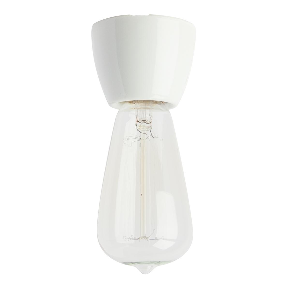 Petit plafonnier ampoule en céramique disponible en quatre couleurs