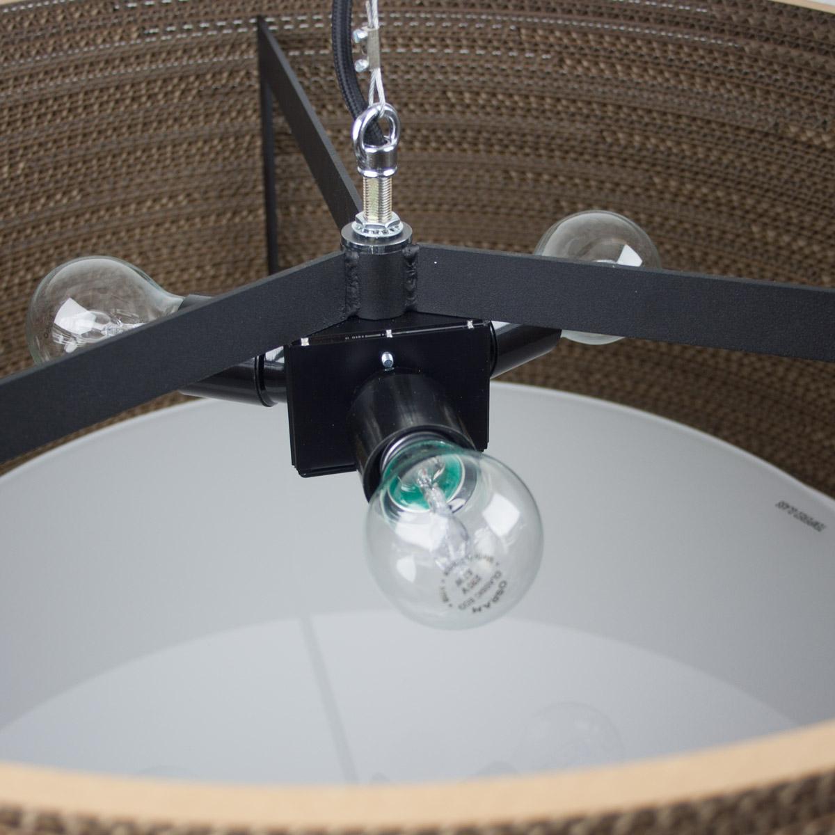 Grande suspension cylindrique drum en carton recycl avec for Suspension trois ampoules
