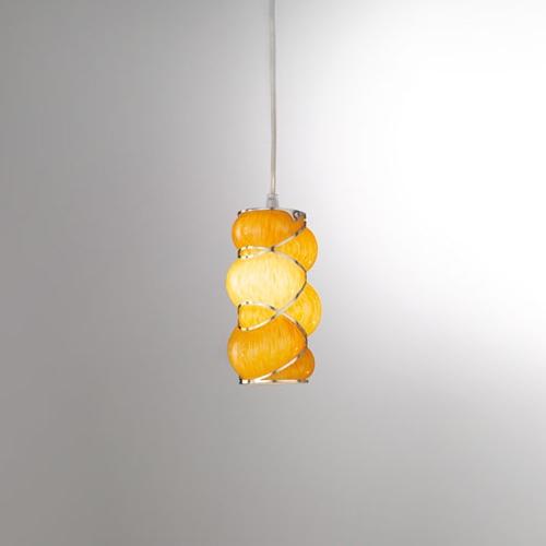 Petite suspension cylindrique r tro en verre souffl de murano for Suspension plusieurs abat jour