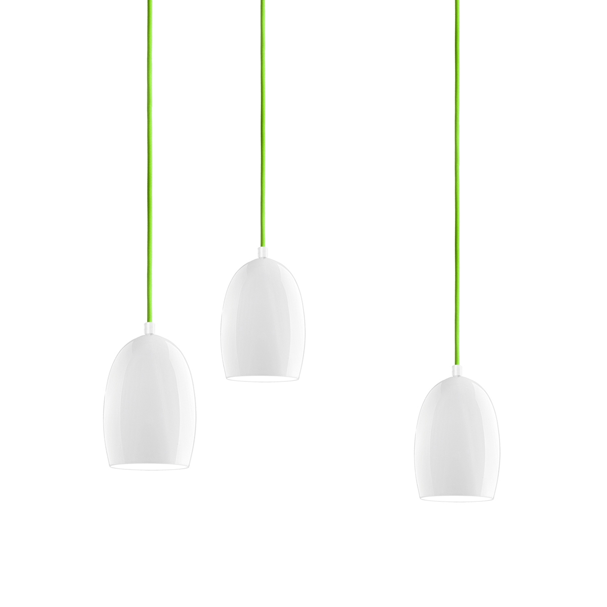 Petite suspension multiple cloche avec abat jour brillant for Suspension multiple design