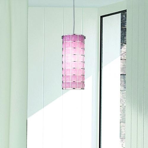 suspension cylindrique moderne en verre souffl de murano de couleur rose. Black Bedroom Furniture Sets. Home Design Ideas