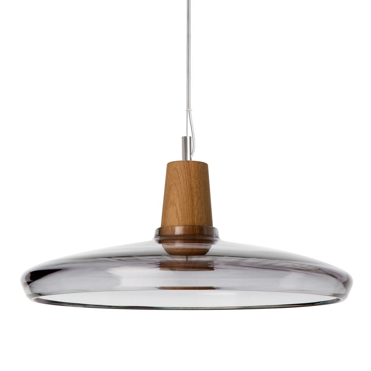 Suspension en bois et en verre souffl au design industriel for Suspension bois luminaire
