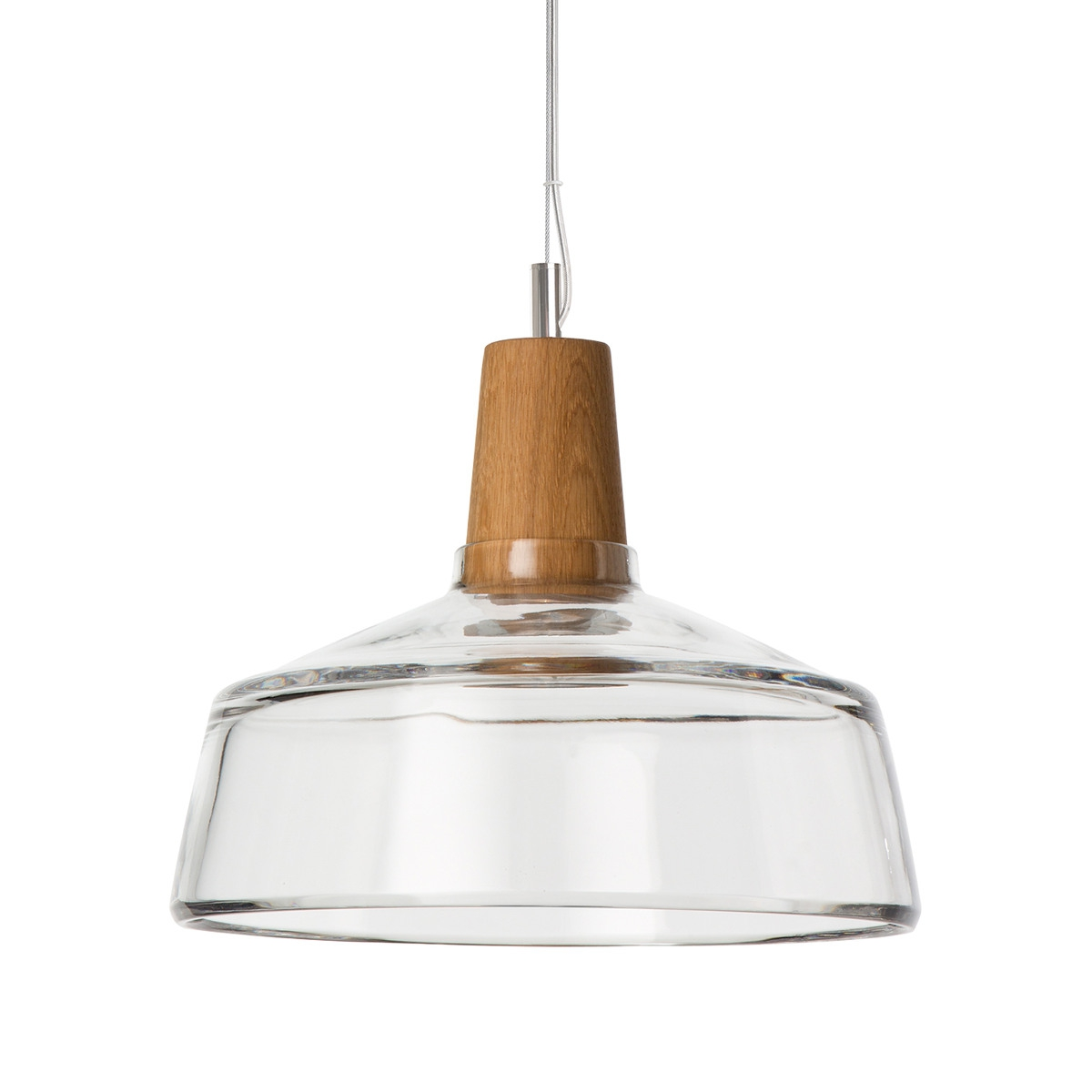 Suspension industrielle en bois et en verre souffl for Suspension bois luminaire
