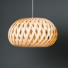 Grande suspension contemporaine en bois