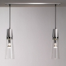 Suspension multiples avec deux lampes, finitions nickel satiné et chrome