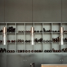 Suspension multiples avec trois lampes, finitions nickel...