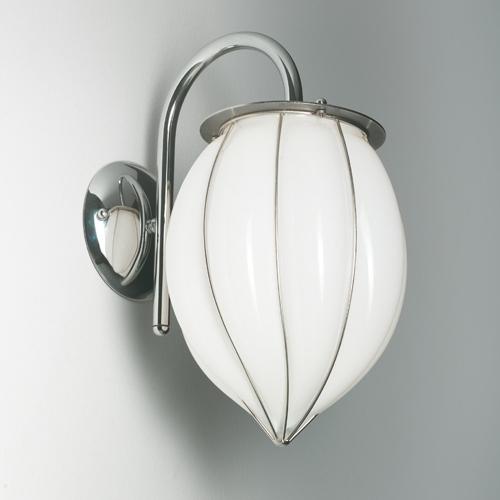 Applique murale en forme de goutte avec diffuseur en verre soufflé de Murano blanc opaque