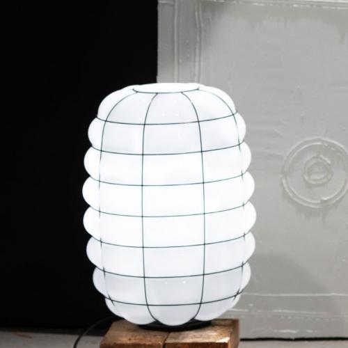 Lampe de table moderne en verre blanc