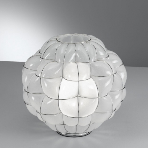 Lampe à poser en verre cristal opaque avec finition antique