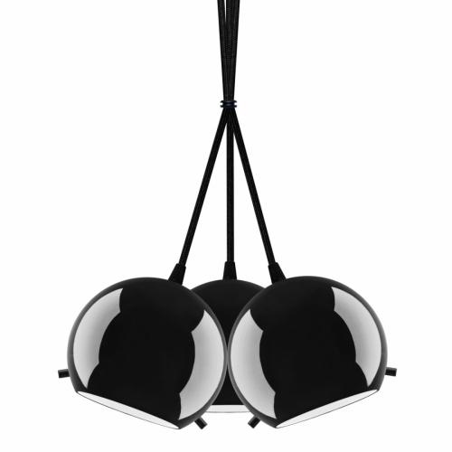 Suspension grappe avec abat-jour noir brillant, pièces métalliques noir, câbles électrique noir