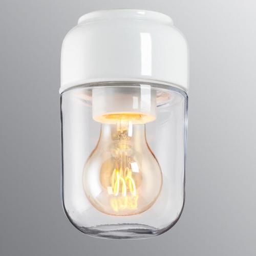 Lampe avec céramique de coloris blanc brillant et avec verre transparent