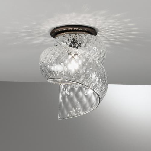 Plafonnier spirale en verre soufflé de Murano