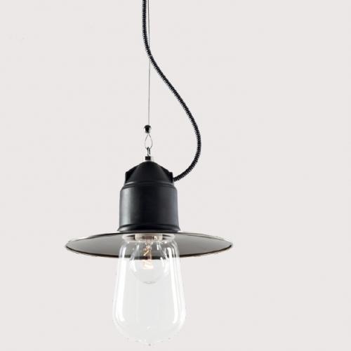 Suspension industrielle avec céramique noir mat, diffuseur en verre transparent et câble textile noir et blanc