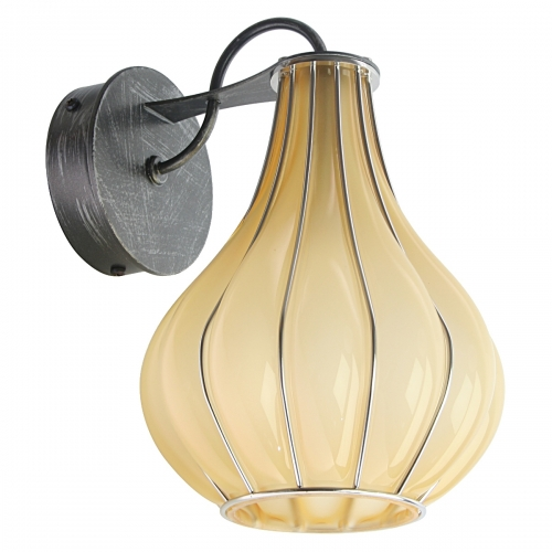 Applique à bras design avec diffuseur en verre soufflé de Murano couleur ambre. Parties métalliques avec finition gris brossé