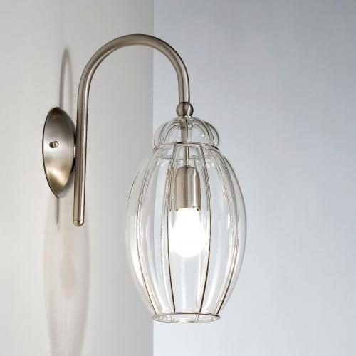 Applique moderne avec un diffuseur en verre de Murano transparent