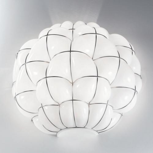 Applique en verre soufflé de Murano avec verre blanc opaque