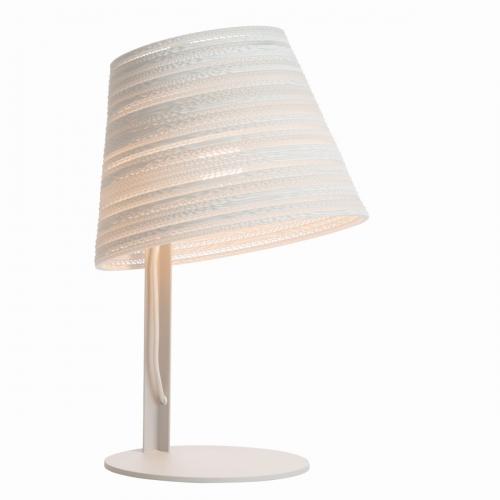 Lampe à poser avec abat-jour blanc, câble blanc, métal gris