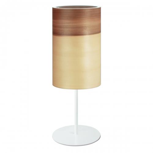 Lampe à poser cylindrique en noyer satiné