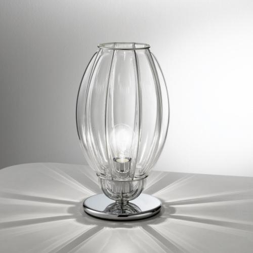 Lampe à poser avec un diffuseur en verre de Murano transparent