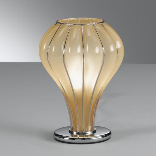 Lampe à poser moderne avec diffuseur en verre de Murano couleur ambre