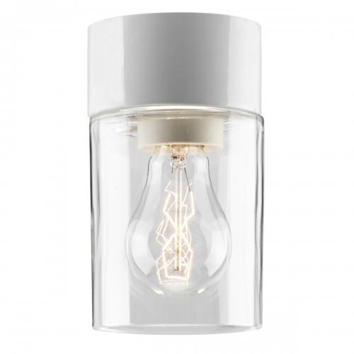 Petit modèle de plafonnier cylindrique pour salle de bains et sauna avec socle en céramique blanc, diffuseur en verre transparent