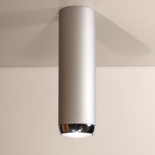Haut plafonnier cylindrique en aluminium avec finitions nickel mat et chrome