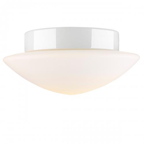 Plafonnier avec support céramique blanc (lampe allumée)