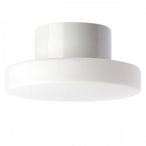 Plafonnier contemporain cylindrique en verre et en céramique blanc brillant