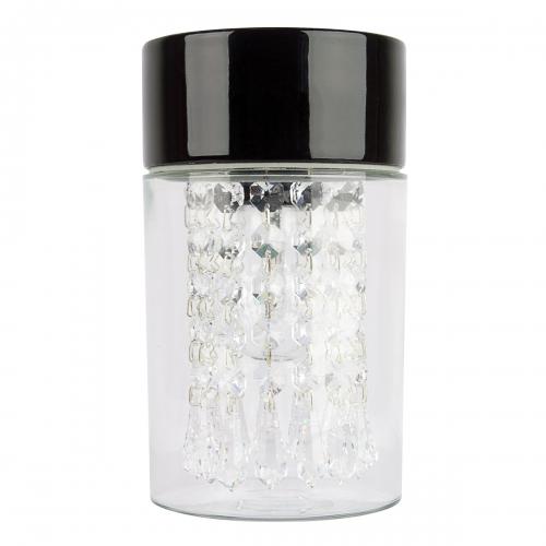 Plafonnier avec couronne en perles et gouttes de verre cristal avec socle en céramique noir