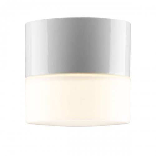Plafonnier cylindrique avec céramique de coloris blanc brillant, petit modèle (lampe allumée)