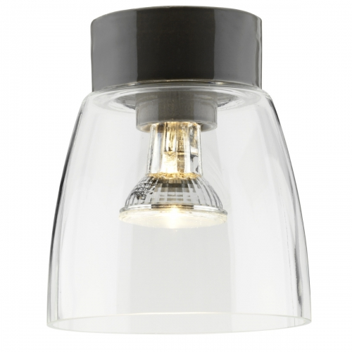Plafonnier avec diffuseur en verre transparent et socle en céramique gris brillant