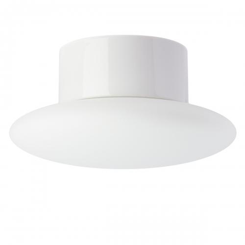Plafonnier avec support céramique blanc brillant et diffuseur en verre opale mat