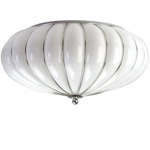 Plafonnier en verre de Murano blanc opaque, grand modèle