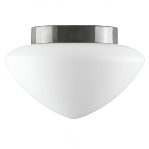 Plafonnier classique en céramique pour salle de bains avec diffuseur opaque de couleur opale et support en céramique gris brillant