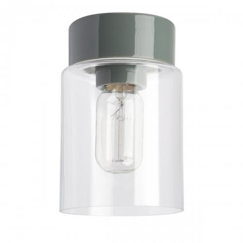 Plafonnier scandinave cylindrique avec socle en céramique gris brillant et diffuseur en verre transparent
