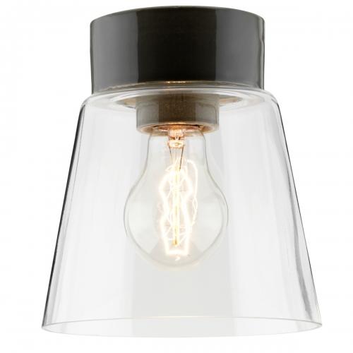 Plafonnier scandinave au design classique avec socle en céramique gris brillant et diffuseur en verre transparent
