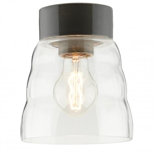 Plafonnier scandinave intemporel avec céramique gris brillant et diffuseur en verre transparent