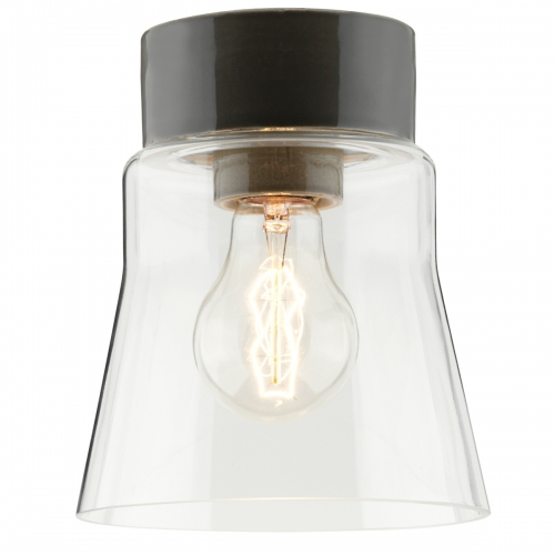 Plafonnier scandinave minimaliste avec socle céramique gris brillant et diffuseur verre transparent
