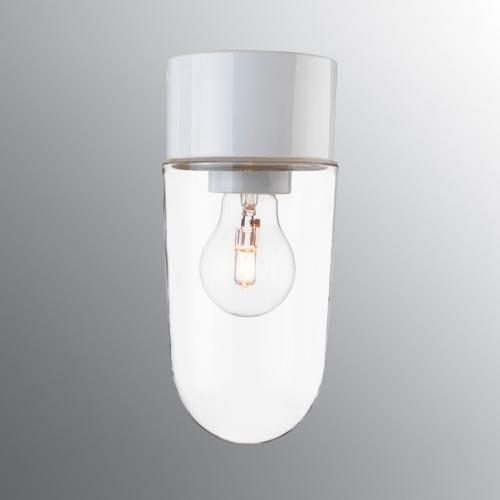 Plafonnier scandinave au design classique avec socle en céramique blanc brillant