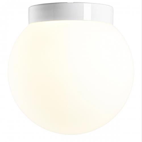 Plafonnier sphère minimaliste, socle en céramique blanc brillant