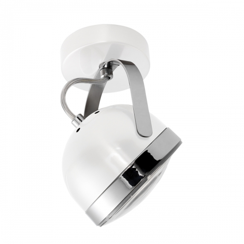 Plafonnier spot orientable phare de moto avec finitions blanc et chrome