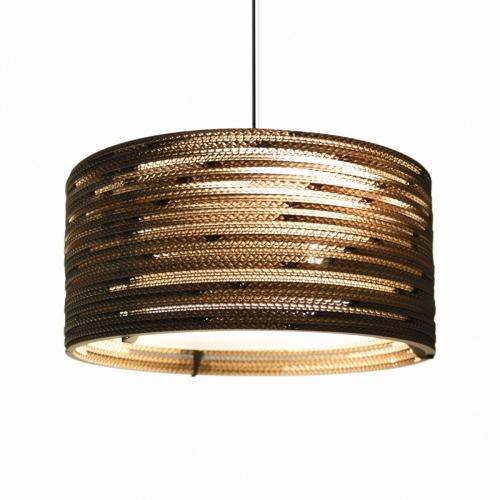 Suspension cylindrique Drum, petit modèle. Lampe allumée.
