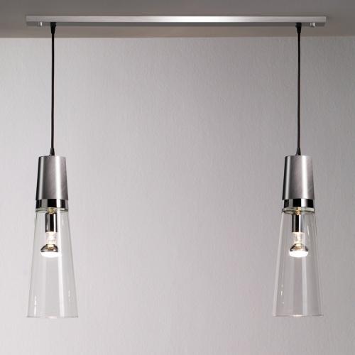 Suspension multiples avec deux lampes, finitions nickel satiné et chrome