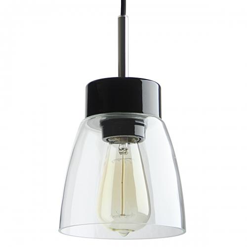 suspension intemporelle en céramique avec socle en céramique noir, abat-jour en verre transparent et câble noir