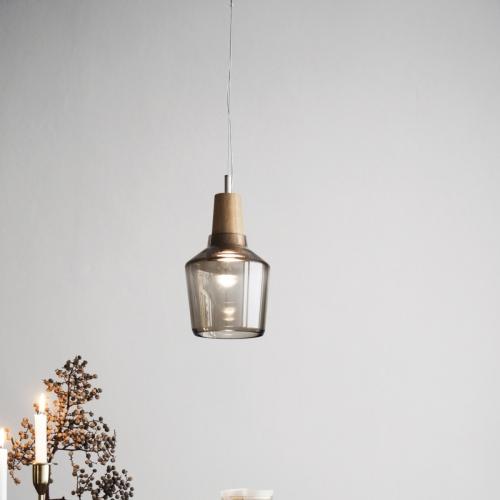 Petit suspension industrielle en bois avec abat-jour en verre anthracite