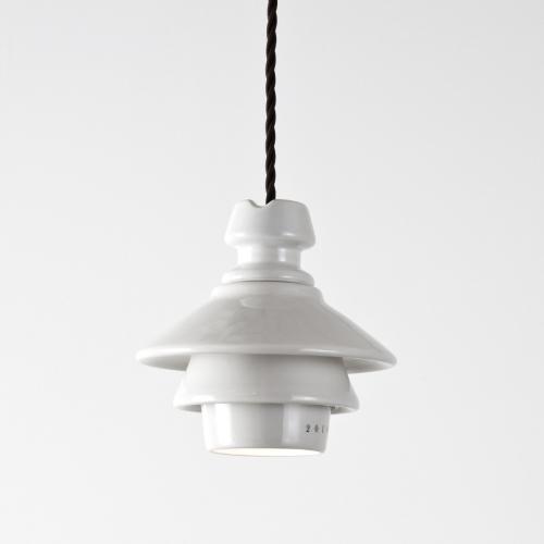 """Suspension avec abat-jour finition Blanc """" Huitre """", sans ressort, avec câble de couleur marron et ampoule halogène GU 10"""