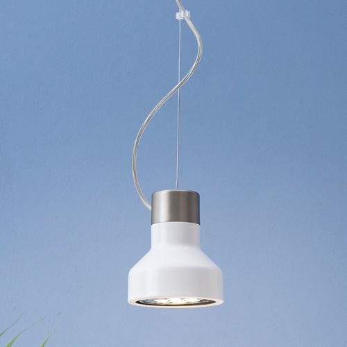 Petite suspension en aluminium en forme de cloche avec finition nickel satiné et noir