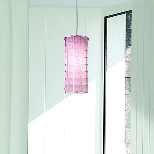 Suspension cylindrique moderne en verre soufflé de Murano de couleur rose