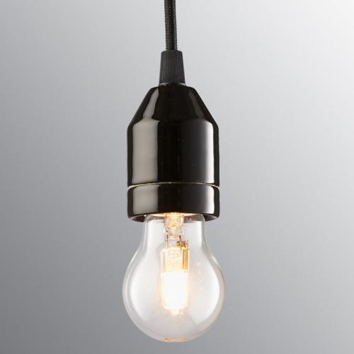 Suspension ampoule minimaliste en porcelaine noire avec câble rouge